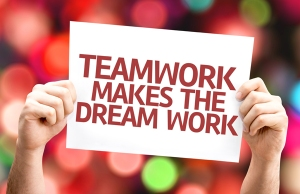 Teamwork Makes the Dream Work card with colorful background